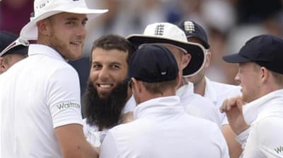 Moeen Ali (2nd L) is now the joint second-highest wicket-taker in the series [REUTERS]