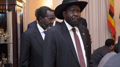 The president called on Riek Machar (pictured) to return to negotiations [AFP]