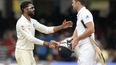 Jadeja (L) had already been docked 50% of his match-fee [REUTERS]