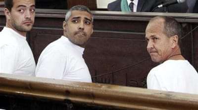 Al Jazeera's Mohamed Fahmy, Peter Greste, and Baher Mohamed have been imprisoned since December 29, 2013 [AP]