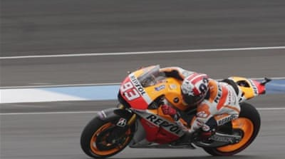 Marquez finished fourth, just over 10 second behind Pedrosa [AP]