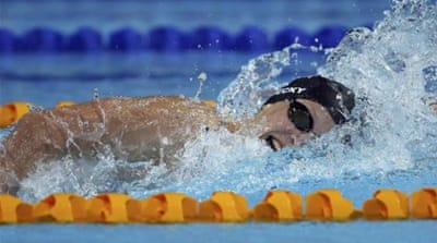 Ledecky narrowly missed out on breaking her own world record in the 800m [AP]