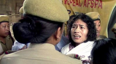 Irom Sharmila was released on August 20, only to be re-arrested two days later. [AP]