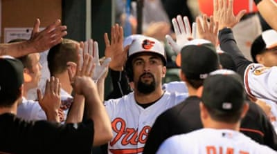 Markakis (21) hit a two RBI home run in the 9-1 win [Getty Images]