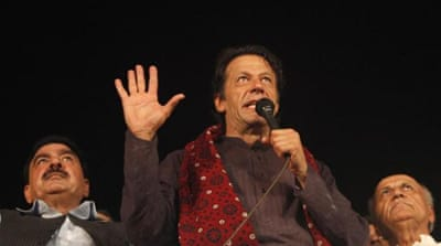 Imran Khan's 'freedom march' entered Pakistan's capital on April 15 [Reuters]