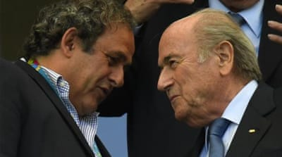 Blatter (R) appeared to target Platini (L) in his latest statements [AFP]