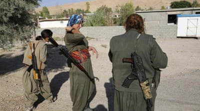 Female members of the PKK near the frontline of the fight against ISIL in Makhmur [Reuters]