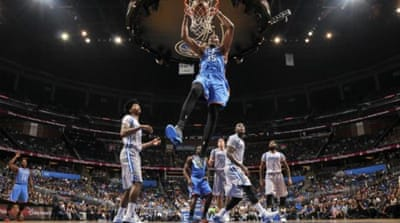 Durant's (#35) efforts helped the Thunder build up a 38-point lead in the first half [Getty Images]