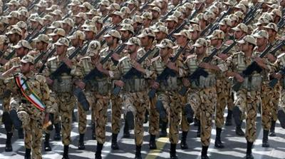 Iranian soldiers march during the annual Army Day military parade in Tehran [AFP]