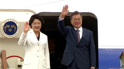 S Korean president arrives in US amid fears for Kim-Trump summit