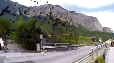 Switzerland mudslide: Alpine town caught in deluge