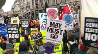 Protesters march ahead of voting on Brexit deal in UK Parliament