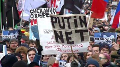 Russia's internet control bill triggers protests