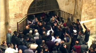 Palestinians reopen Al-Aqsa gate locked by Israel 16 years ago