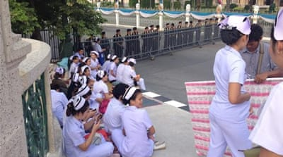 An unusual sight as Bangkok's nurses strike