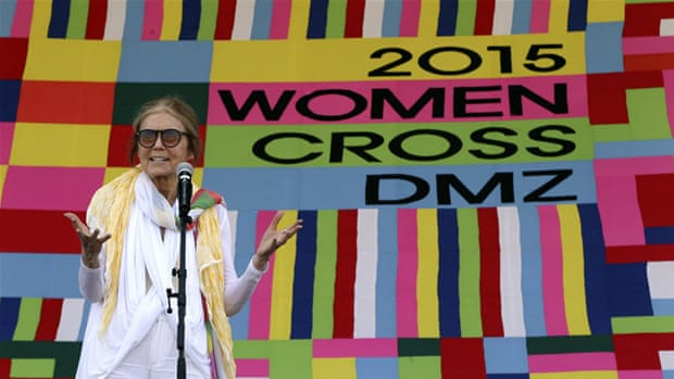 Thirty international women activists crossed the DMZ from North to South Korea [EPA]