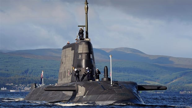 HMS Ambush, the second of the new Astute Class attack submarines, at HM Naval Base Clyde in Scotland [EPA]