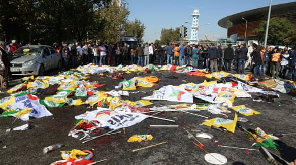 An online video showed the moment one of the blasts at the peace rally in Ankara [Via @dokuz8haber]