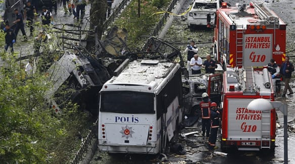 The attack targeted a bus carrying elite police officers in the centre of Istanbul [Reuters]