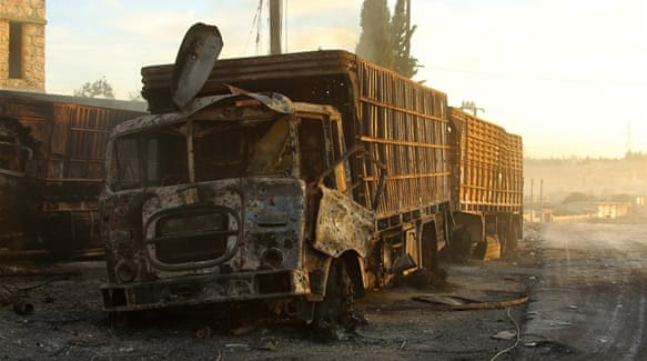 Air strikes destroyed 18 trucks in a 31-truck aid convoy destined for rebel-held areas of Aleppo [Reuters]