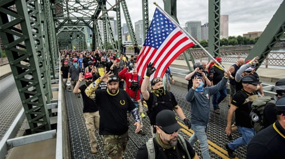 Far-right rally, counterprotests face off in US city of Portland