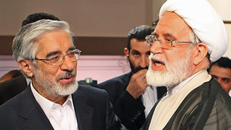 "Officials called Mir Hossein Mousavi and Mehdi Karroubi ""anti-revolutionary"" for encouraging mass protests [AFP]"