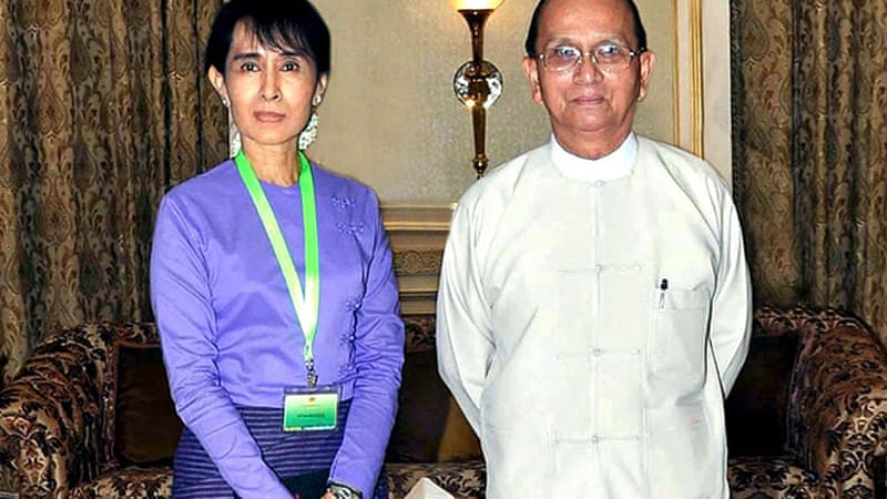 Suu Kyi met President Sein, right, for the second time since August 2011 [Reuters]