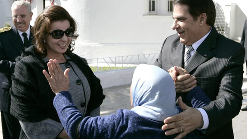 Ben Ali, seen at right in this 2009 file photo, flew out of Tunisia to Saudi Arabia in January last year [EPA]