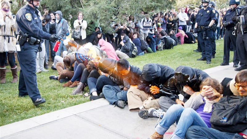 The students who were pepper sprayed were part of the Occupy movement in California[EPA]