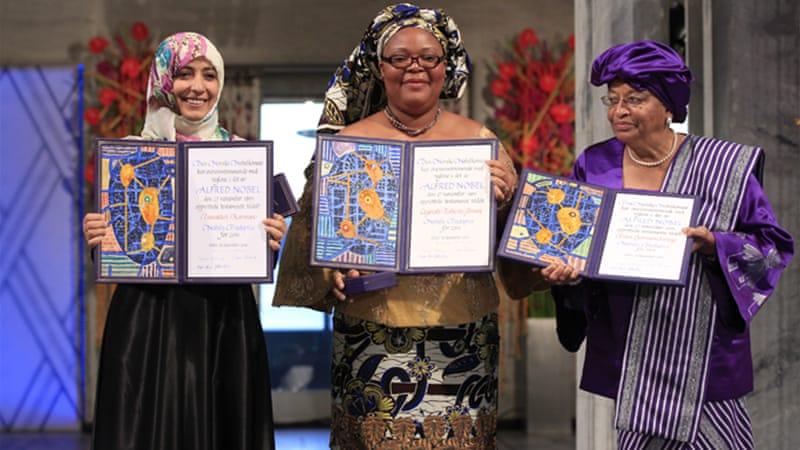 Liberian President Ellen Johnson Sirleaf, her compatriot Leymah Gbowee and Yemeni activist Tawakkul Karman shared last year's prize [EPA]
