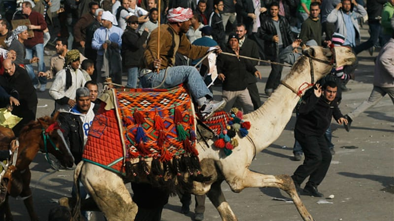 On February 2, 2011, pro-Mubarak forces riding camels and horses charged activists in Tahrir Square [GALLO/GETTY]