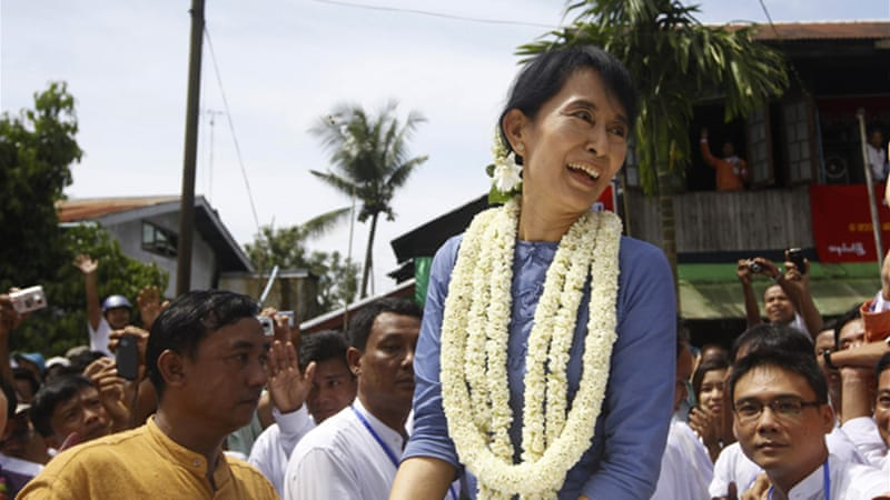 Aung San Suu Kyi is campaigning for a parliamentary seat in elections in April [Reuters]
