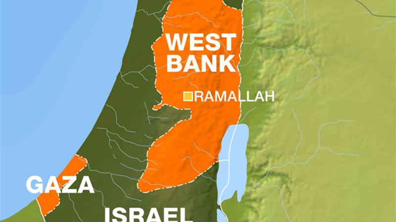 Map of Ramallah showing Gaza, West Bank and Israel [Al Jazeera]