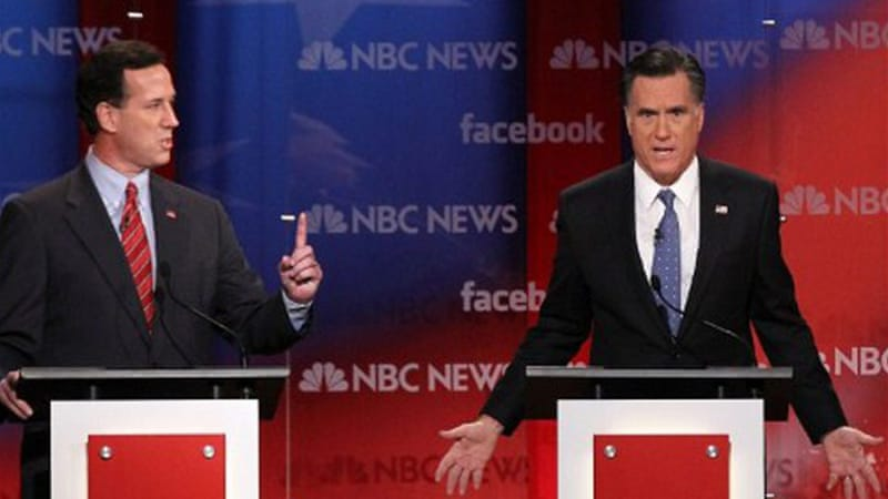 Mitt Romney's efforts to wrap up the Republican nomination have been thwarted by Santorum, left [AFP]