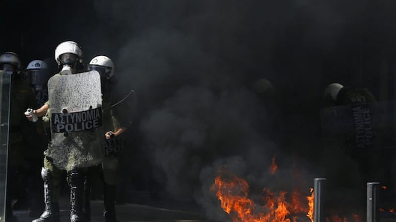 Greek police clashed with rioters in downtown Athens last week during a protest against austerity measures [Reuters]