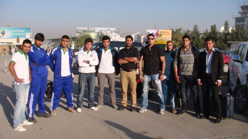Afghanistan rugby team at Kabul Airport heading to Mumbai Asian Sevens tournament [Al Jazeera]