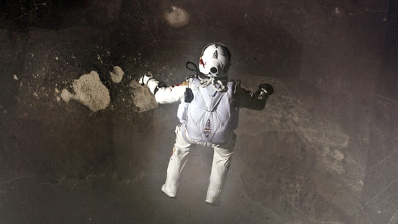 Baumgartner jumped from an altitude of 39km and went supersonic on his descent [Jay Nemeth/Red Bull Stratos]