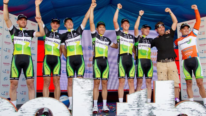 White, pictured above second right with Australia's Orica-GreenEDGE team, was sacked from his role in the national men's road racing programme following his admission of doping [EPA]