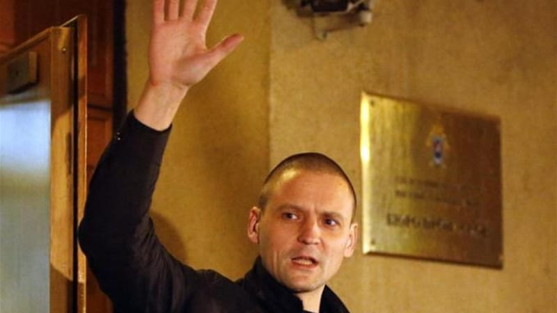 Sergei Udaltsov, the Left Front leader, has been told he cannot leave Moscow during the investigation [AFP]