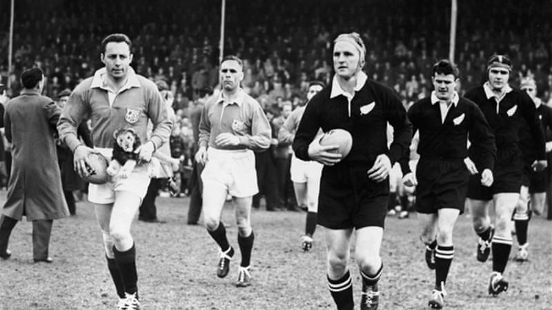 Whineray, pictured right in a 1959 Test, captained the All Blacks in 32 Test Caps - a remarkable tally in the days when only two or three Tests were played each year [GALLO/GETTY]