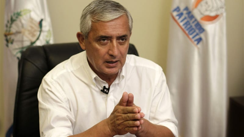"President Perez Molina, a former general and CIA asset who was deeply involved in the violent counter-insurgency during the armed conflict, ""denies that genocide occurred"" in Guatemala [EPA]"