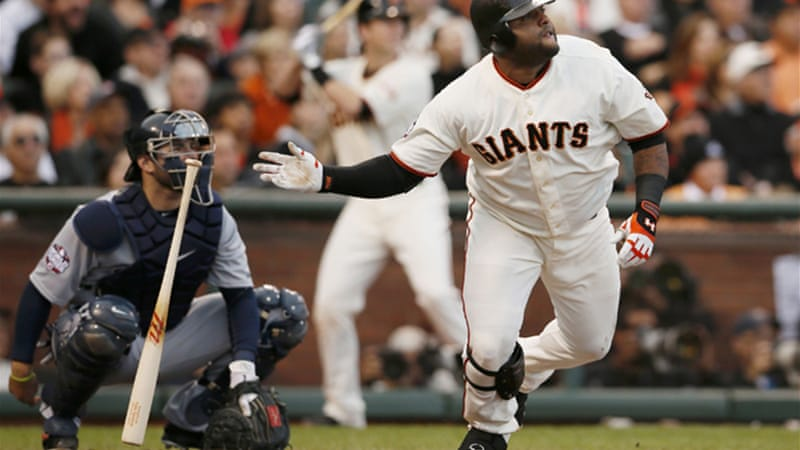 Pablo Sandoval's three home runs inspired the opening game rout by the Giants [Reuters]