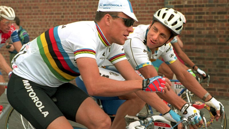 The American cyclist, pictured above with Lance Armstrong, won the Tour de France in 1986, 1989 and 1990 [GALLO/GETTY]