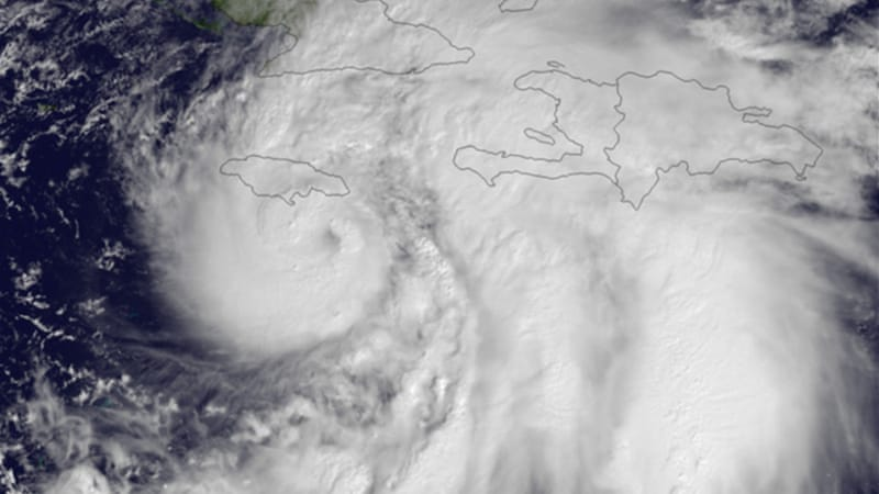 Sandy battered the Caribbean island of Jamaica, toppling power lines and forcing residents to flee [NASA]