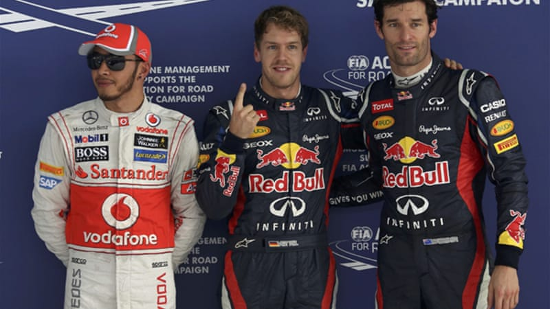 Vettel led team-mate Mark Webber in qualifying, with McLaren drivers Lewis Hamilton and Jenson Button finishing third and fourth at the Buddh circuit [Reuters]