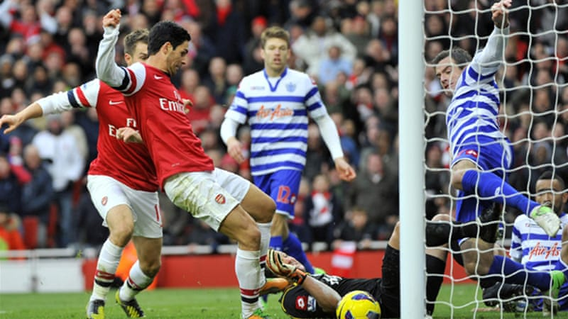 Arsene Wenger's Arsenal rose from ninth to fourth after Mikel Arteta's 84th minute goal secured a 1-0 win over QPR [Reuters]