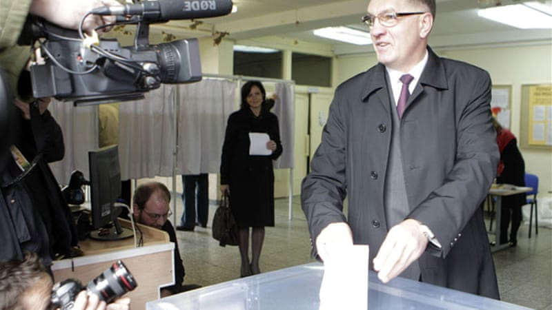 Butkevicius cast his vote in Lithuania's capital Vilnius, in a poll which may herald change across Europe [Reuters]