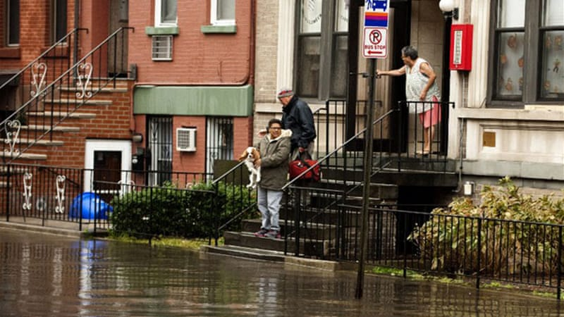 Hurricane Sandy ripped through New York and New Jersey causing flooding and damage to buildings [AFP]