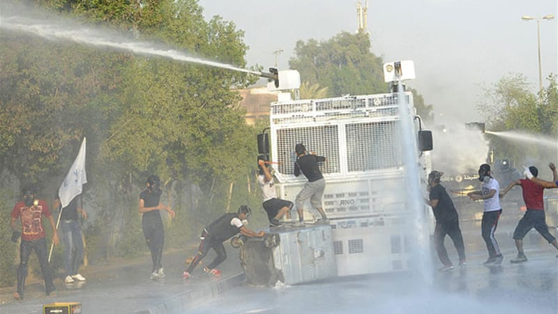 The protesters, mainly from the Shia majority, have been demanding bigger role for elected representatives [Reuters]