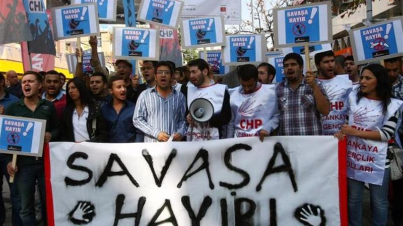 Protests have been held in Turkey against the possibility of a war with Syria as border tensions mount [AFP]